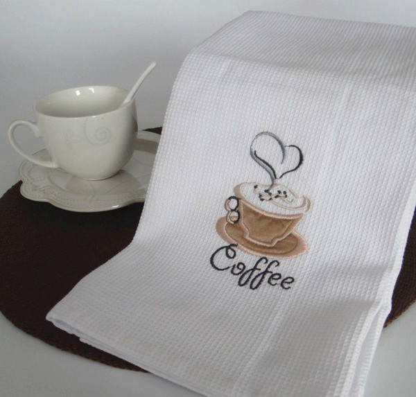 best selling New 50x70cm White Waffle Embroidery Coffee Cherry Table Napkins Cloth Home Kitchen Tea Towels Photography Props Pads