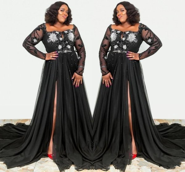 Plus Size Black Long Sleeves Mother of Bride Groom Dresses A Line Split Sheer Appliques Sequins Formal Party Evening Gowns