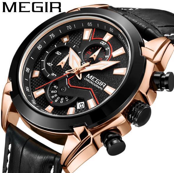 Brw Watches Men MEGIR Men Chronograph Quartz Watches Genuine Leather Army Military Clock Male Sport Wrist watch Relogio Masculino