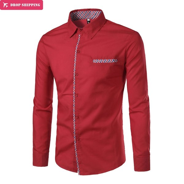 Brand 2018 Fashion Male Shirt Long-Sleeves Tops Striped Cloth Is Decorated With False Pocket Mens Dress Shirts Slim Men Shirt
