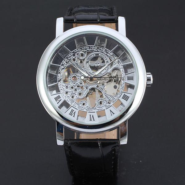 Vintage Unique Design Dial Top Brand Hollowed Men's Watch Automatic Mechanical Watches For Men Waterproof