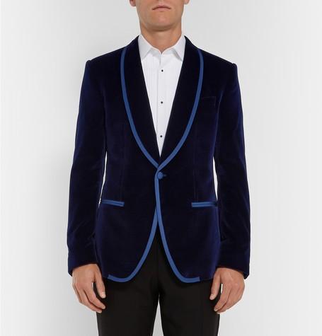 Stylish Design Groom Tuxedos One Button Dark Blue Velvet Shawl Lapel Groomsmen Best Man Suit Mens Wedding Suits (Jacket+Pants+Tie) NO:851