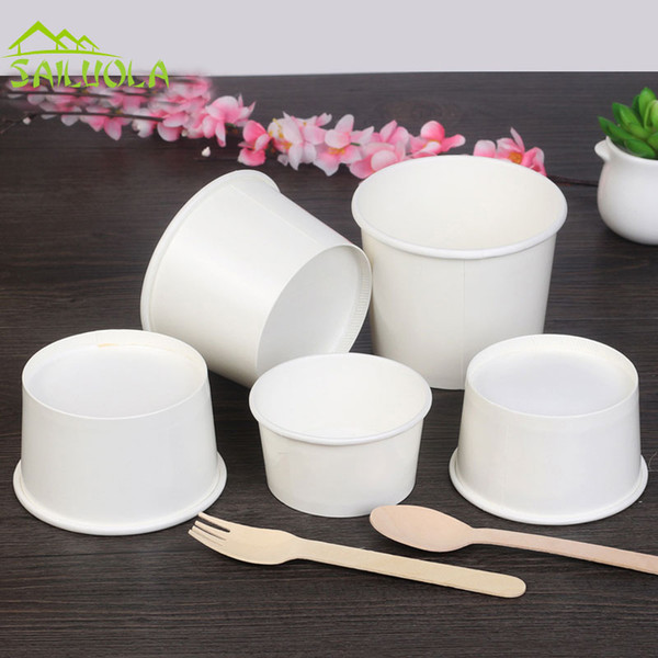top popular 100pcs lot 4 6 8oz White Disposable Ice Cream Paper Cup Ice Cream Paper Bowl Party Supplier 2021