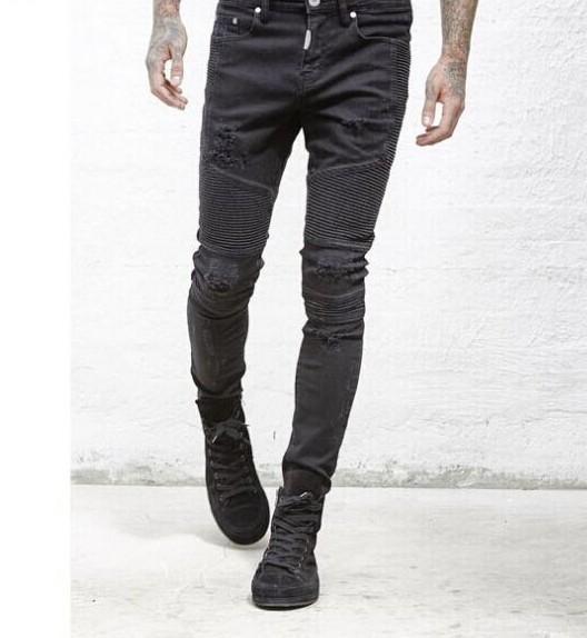 Mens Strech Ripped Biker Jeans Skinny Light Blue Distressed Kanye West Designer Brand Hip Hop Streetwear Swag Wholesale Pants