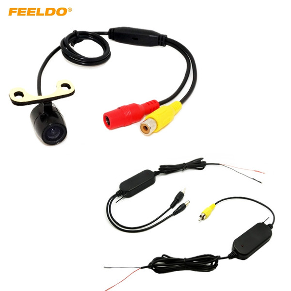 FEELDO CCD 16.5mm Car Rear View Camera With 2.4 Ghz Wireless RCA Video Transmitter Receiver Kits Module #4740