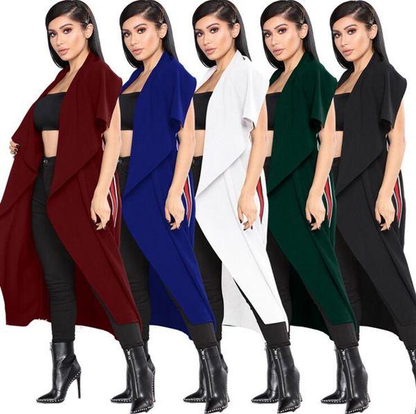 Mulheres Irregular Lapela Capa Sem Mangas Irregular Cardigan Longo Casaco Aberto Frente Trench Coat 5 Cores 5 pcs LJJO4134