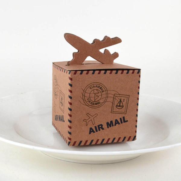 100pcs Kraft Gift Box Air Mail Plane Design Vintage Paper Gift Bag Wedding Favor Box for Wedding Baby Shower Party Decoration