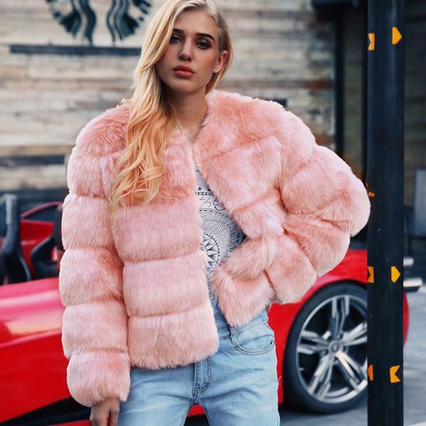 Nueva capa de la chaqueta de piel de zorro de lana para abrigos de invierno capa de las mujeres de manga larga con cuello redondo de la piel de imitación del abrigo esquimal de las mujeres de alta calidad de vestir exteriores CJE1018