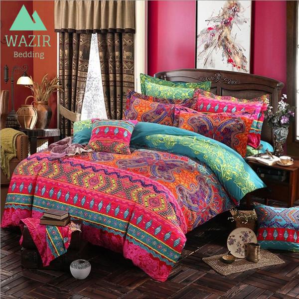 WAZIR edredon Bohemian Ethnic Style Bedding Set Twin Full Queen King 4 Size Duvet Cover Pillowcase bedroom decor Home Textile