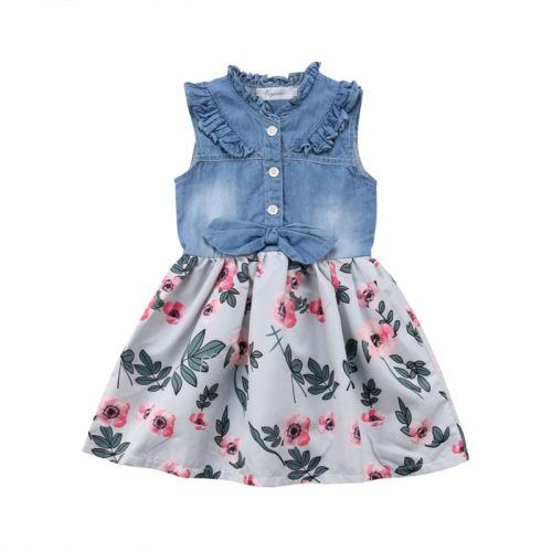 Newborn Kids Baby Girls Flower Denim Patchwork Vest Shirt Dress Sundress Canis