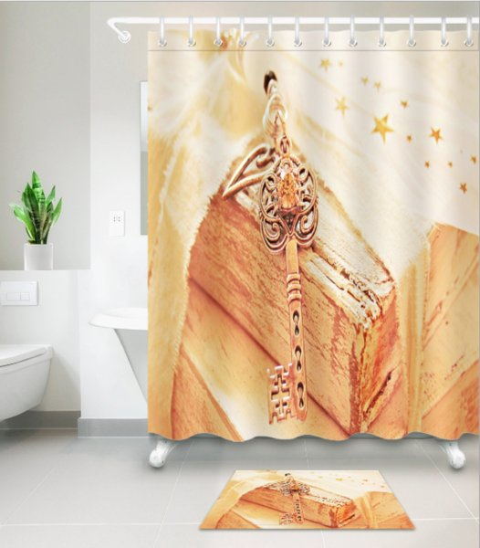 Wood key 3D pattern Print Custom Waterproof Bathroom Modern Sunflower Shower Curtain Polyester Fabric Bathroom Curtain Door mat sets