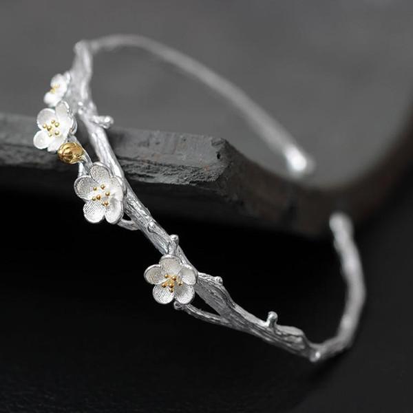 Wholesale- 925 Sterling Silver Plum Flower Open Bracelets & Bangles High Quality Elegant Lady Sterling-silver-jewelry Pulseira Feminina