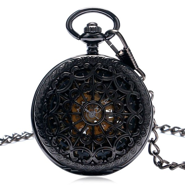 Retro Pocket Watch Black Hollow Case Mechanical Hand-Wind Watch with Necklace Unisex Steampunk Golden Skeleton Pendant Clock