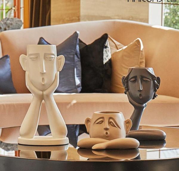 Nordic ceramic creative people face vase set pot home decor crafts room decoration object porcelain Vintage Art flowers vases