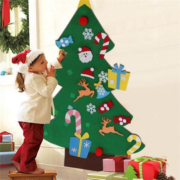 Toddler Christmas Tree.Kids Diy Christmas Tree Set With Ornaments Boys Girls Xmas Gift Toddler Door Wall Sticker Hanging Preschool Craft Children Room Decoration Christmas