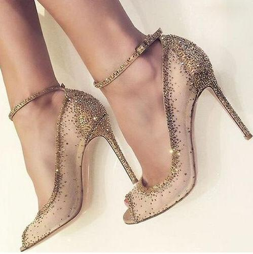 1c6417b33586fa Spring Fashion Women Open Toe Gold Bling Bling Diamond Pumps Crystal Ankle  Strap High Heels Rhinestone Wedding Shoes Mesh Stiletto Heel Pump
