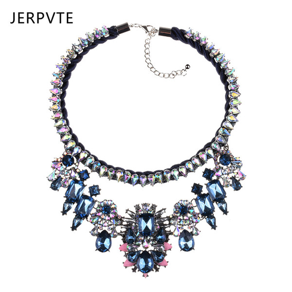 wholesale Fashion Jewelry Shourouk Blue Crystal Flower Choker Statement Necklaces Layered Handmade Custom Necklace For Women