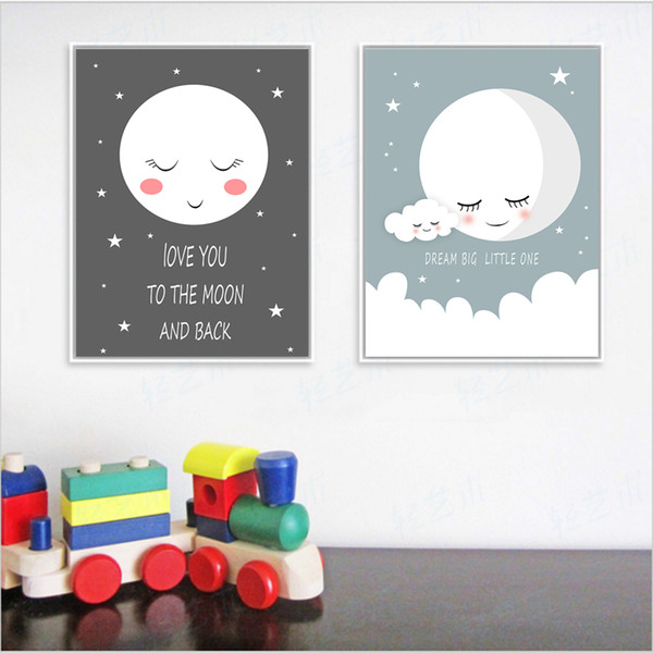 COLORFULBOY Sleep Moon Modern Wall Art Posters And Prints Dream Quotes  Canvas Painting Wall Pictures For Kids Room Home Decor