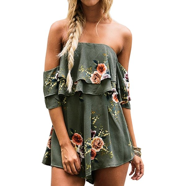 jumpsuits for women 2018 Hot Sale women's sexy chest wrapped flounce trumpet sleeve playsuit vestidos