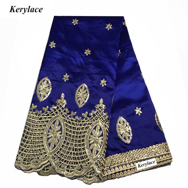 KERYLACE Blue 5Y Nigerian George Lace High Quality New Silk African George Fabric Sequin Fabric Style Embroidered Women Wedding Dress Party