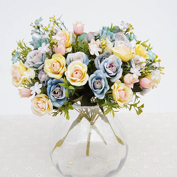 fiori artificiali 13 teste / bouquet piccolo bocciolo di seta rose fiori di simulazione foglie verdi casa vasi autunno decora per matrimonio
