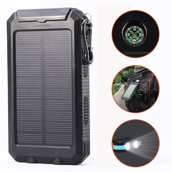 usb 10000mah waterproof solar power bank portable charger outdoor travel enternal battery dc5v. led light compass