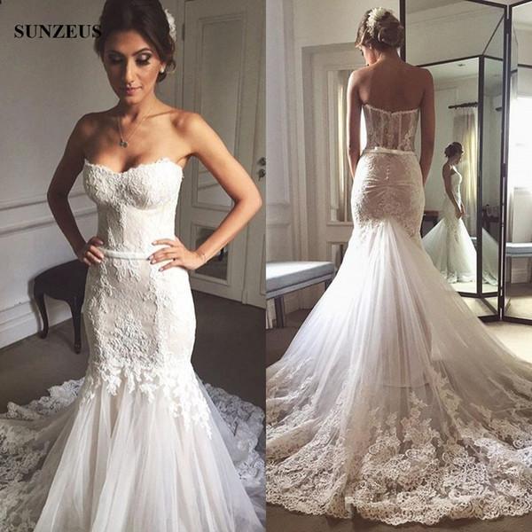 compre vestidos novias boda sirena vestido de novia cariño apliques