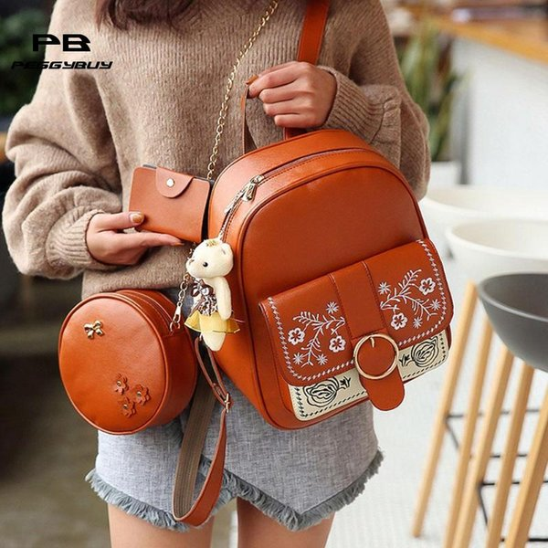 3Pcs Bear Backpack Women Bag PU Leather School Bags For Girl BackpacFor Women 2018 Flower Shoulder Card Clutch Bag Sac A Dos