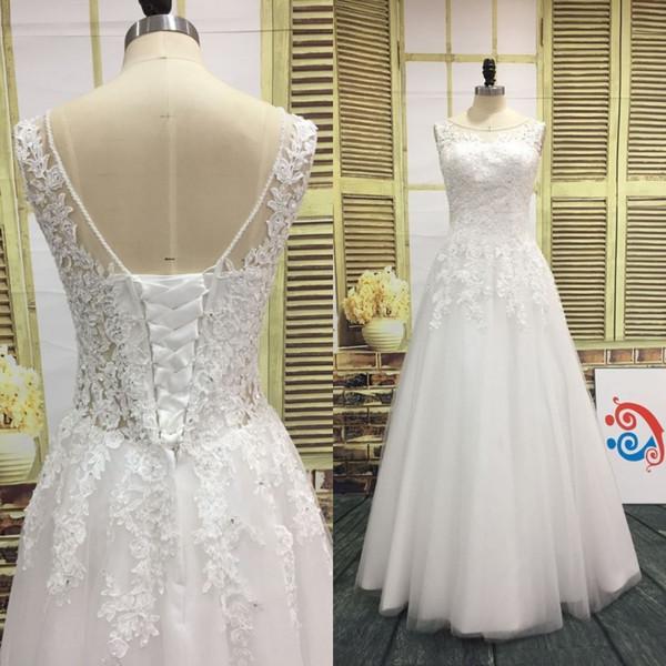 Real imagem a linha de casamento vestido frisado sheer decote cristais pérolas lantejoulas apliques de renda ilusão de volta espartilho até o chão vestido de noiva