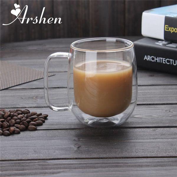 Arshen Big Promotion !300ml Handmade Heat Resistance Double Wall Clear Glass Cups Coffee Milk Tea Beer Mug Transparent Drinkware