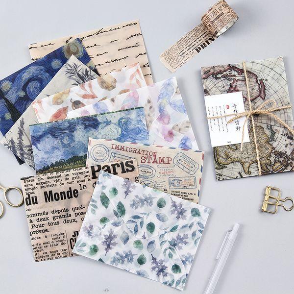 3 adet / takım Vintage Van Gogh Boyama Şiir Peyzaj boya Saydam Zarf Mesaj Kartı Mektup Sabit Depolama Kağıt hediye