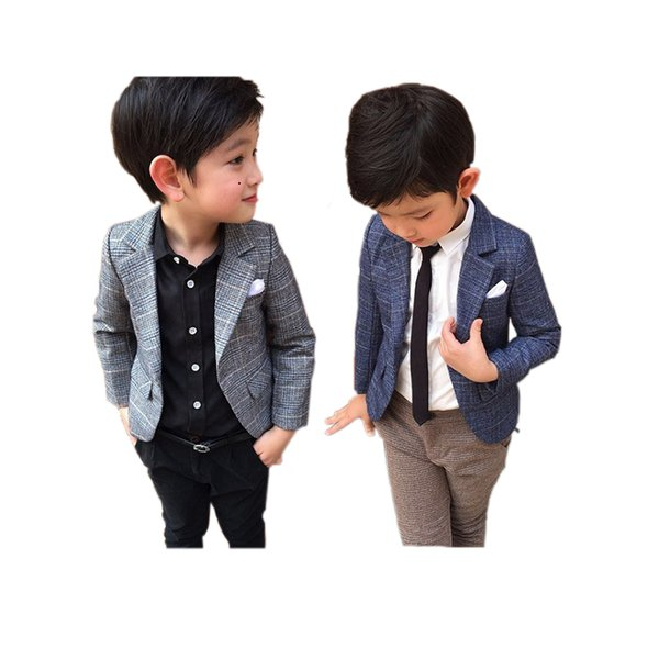little boy blazer coat gentleman style plaid blazer jacket for 3-8years boys kids children causal suit tops clothes