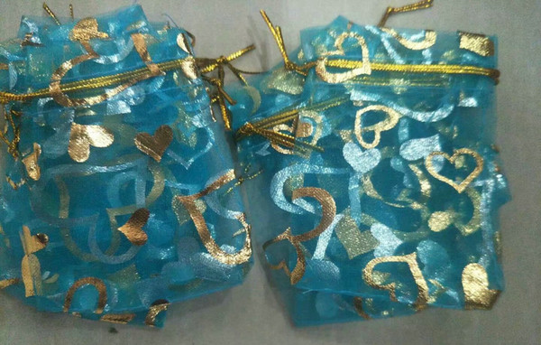 100Pcs TURQUOISE BLUE GOLDEN Heart Organza DRAWSTRING Jewelry Packing Pouch Wedding Favor Gift Bags 7x9cm /9x12cm / 13x18cm