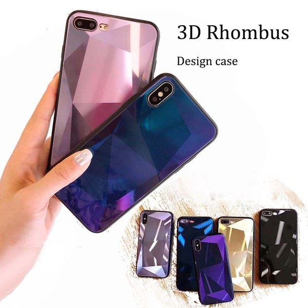 2018 new Fashion 3D Rhombus silm Glossy diamond reflecting hard case back cover shockproof back cover protector for iphone x 7 8 plus
