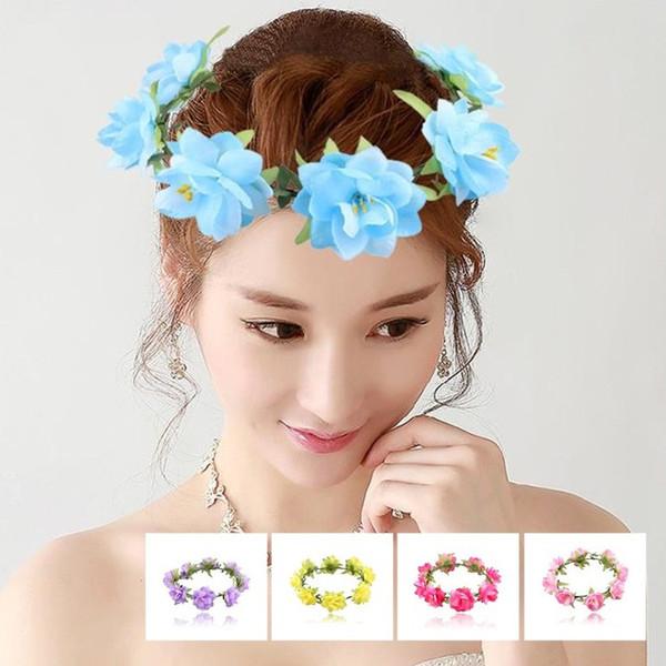 Romantische Kopfband Headwear Hochzeit Braut Handgelenk Band Brautjungfer Artifical Blumen Kranz Kranz Haarschmuck Neuheit Artikel T6I069