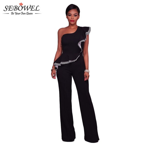SEBOWEL 2017 Top Fashion Ruffles One Shoulder Jumpsuit Women Long Pants Wide Leg Jumpsuit Elegant Rompers Macacao Feminino
