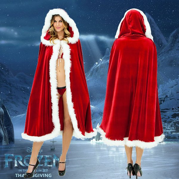 top popular Christmas Cloak Cosplay Costume Women Men Santa Claus Red Velvet Long Cloak Capes Christmas Party Dress Supplies 2021