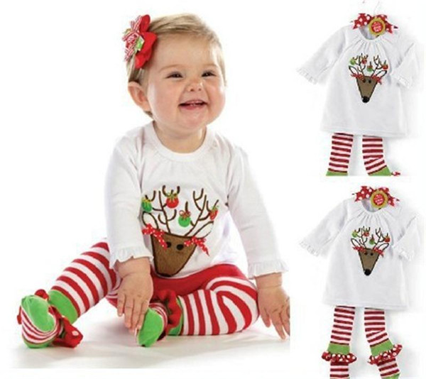 Bebés de Navidad ciervos sistemas de la ropa de la historieta del cervatillo camisetas de manga larga a rayas pantalones 2pcs de los Homewear para bebé Elk Equipos regalos de Navidad