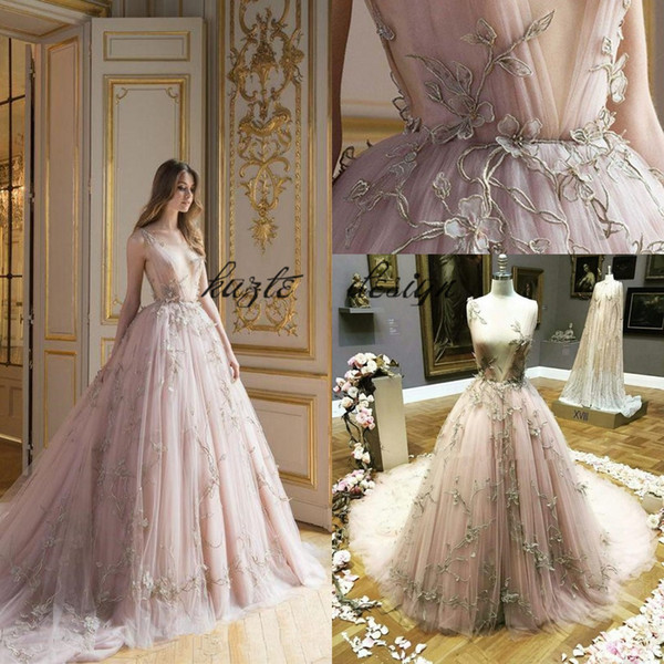 Paolo Sebastian Blush Tulle Evening Dresses with Lace Applique 2018 Modest V-neck Sweep Train Real image Prom pageant Gowns vestido de novia