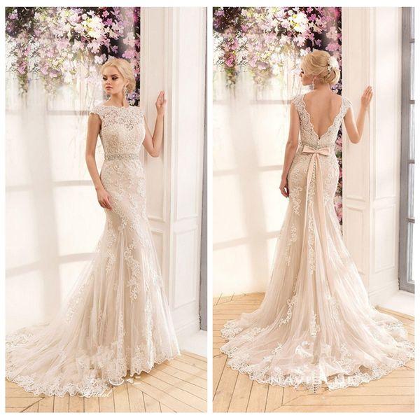 Vestidos de novia de la sirena de los appliques del cordón 2019 con los vestidos de novia de la cinta V-Shape detrás por encargo Vestidos De Mariee baratos