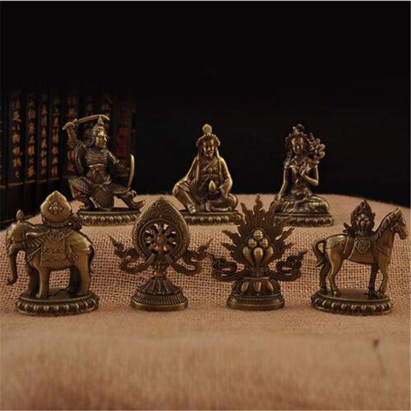 Buddhist Classic Bronze Color Tantric 7 pcs Auspicious Symbols Delicate Gilt King of Wheel Seven Treasures for Temple Decor