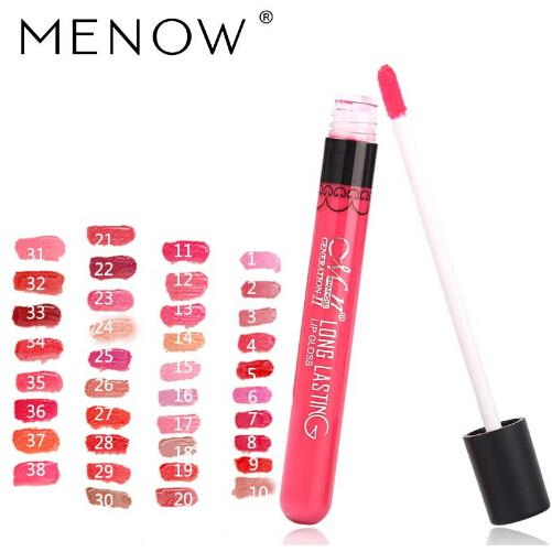 New Menow 38Color Lipgloss Mate Hidratante de larga duración Sexy Lip Gloss Impermeable Belleza Liquid Lipstick Cosmético