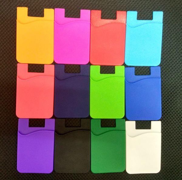 Portafoglio in carta adesiva in silicone Custodia in carta adesiva in silicone Portafoglio porta carte di credito colorato Custodia in silicone per smartphone 3M
