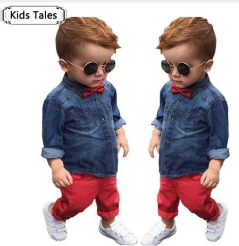 ST245 2018 Spring children's clothing Set baby boys clothes cotton long sleeve shirts + denim pants casual red kids clothes