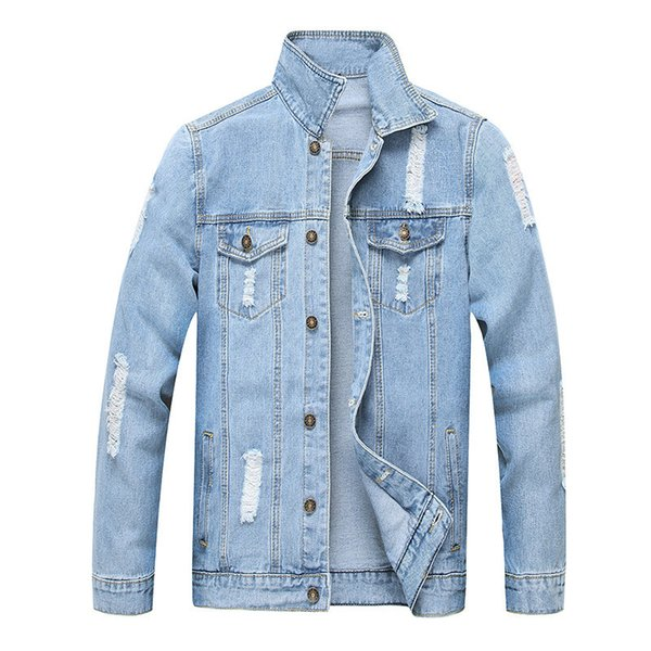 MORUANCLE Mode Männer zerrissen Jean Jacken Washed Distressed Denim Trucker Jacken Hellblau Oberbekleidung Doe Man Umlegekragen
