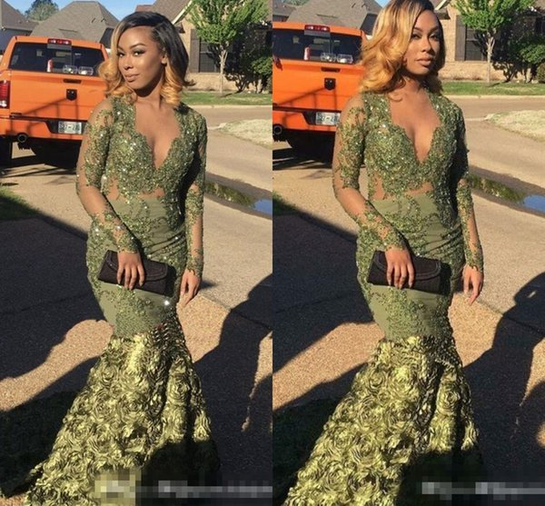 2018 Plus Size Prom Dresses with Long Sleeves Olive hunter Green Mermaid Arabic Prom Dresses Long 3D Froal Flowers Lace V-Neck Evening Dress