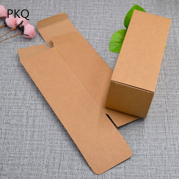 50pcs/lot Essential oil bottle packaging box cosmetic perfume paper storage box brown kraft paper cardboard box free shipping