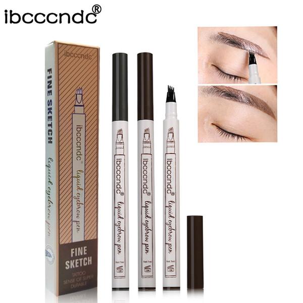 3 Color 4 Head Fork Tip Microblading Eyebrow Tattoo Pen Fine Sketch Liquid Eyebrow Pen Waterproof Tattoo Durable Eye Brow Pencil