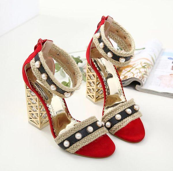 Sexy schnalle pumps frauen perle high thick heels schuhe offene spitze knöchelriemen sandalen frauen hochzeit schuhe