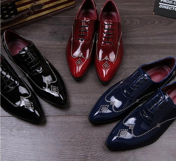 2018 rivet handmade shoes sell like hot cakes men leather shoes, wedding shoes party dress shoes HX49